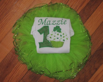 Lucky Cupcake Baby's First St. Patrick's Day Birthday Bodysuit Tutu set 1st (2nd also available)