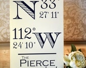 Personalized Housewarming Gift | Longitude Latitude Sign Sign | Newlywed Gifts | Choose Your Family Last Name