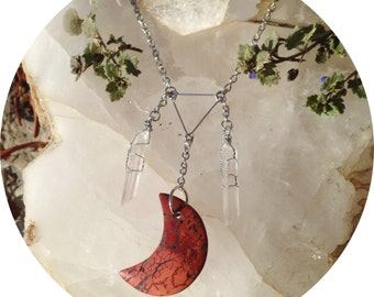 Red Jasper Moon Necklace - crystal quartz points