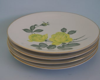 SALE Mid-century plate set (4) yellow green roses china plates by H&C SELB Bavaria Germany