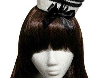 Lovely Black Striped Bow and Anchor Mini Sailor Hat
