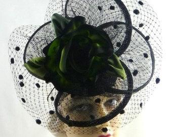 Green Black Silk Flower Veil Handmade Hat Headband Fascinator Mini Mother of the Bride Church Prom Durby Art Deco Custom Made for Each Cliet