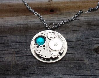 Steampunk Necklace, Blue Zircon Swarovski Crystal Necklace, Industrial Look Necklace, N51