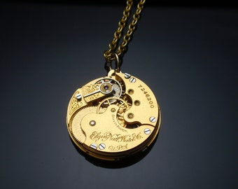 Steampunk Necklace, GORGEOUS IN GOLD, Elgin Gold Tone Watch Mechanism