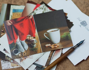 Coffee and Cookies Postcard, Red dress,  Christmas Card, Girl in Red Dress, Winter Postcards