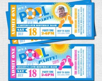 POOL PARTY Ticket Invitations - Summer Celebration (print your own) Printable Digital Files - Birthday, Graduation, BBQ
