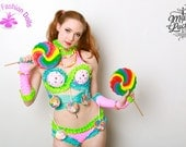 SALe Electric Candy land lollipop cupcake sexy RAVE EDM FESTIVAL sexy costume stage go go dancer wear by Maria Luck