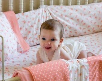 Birds of A Feather: Crib Set, Toddler Set, Baby Girl, Coral, Crib Bedding, Baby Bedding, Toddler Bedding, Birds, Organic, Custom