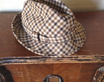 Mid Century fedora with houndstooth pattern, by Lock & Co.
