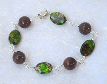 Imperial Green Jasper and Brown Agate Bracelet