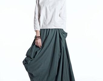 Green Linen Skirt - Maxi Long Asymmetrical Hemline with Pockets All-Seasons Skirt - C524