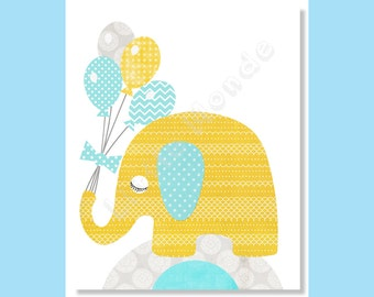 Baby Boy Nursery Prints,NURSERY ART PRINTS, Yellow Aqua Blue, Elephant, Balloons, Boy Nursery Wall, Zoo, Playroom, Toddler Decor, Kids Art