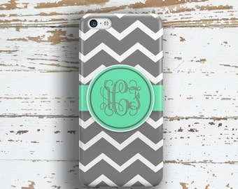 Monogram 4s case, Chevron Iphone 6 plus case, Preppy Iphone 6s plus case, Cute iPhone 4 case, Women's Iphone case, Gray white aqua (1064)