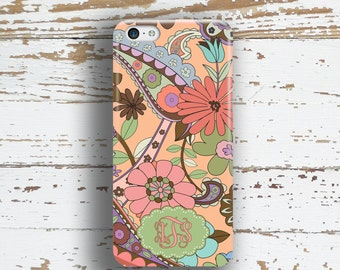 Unique gifts for women, Pretty phone case, Coral Floral Fits iPhone 4/4s 5/5s 6/6s 7 8 5c SE X and Plus, Flowers green tangerine (1346)