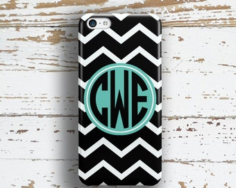 Gifts for teen girls, Chevron iPhone 5s case, Preppy Iphone 5c case, Girl's tech fashion, Black white chevron with aqua blue (9814)