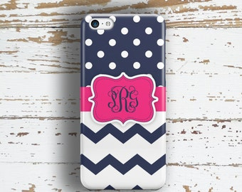 Tweens iPhone 6 case, Cute iPhone 5 case, Pink iPhone 5c case, Monogram iPhone 4s case, Teen fashion accessory, Navy polka dots pink (1274)