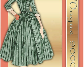 Vogue 9000 1950s Dress Pattern Mid Century Modified Shirtwaist with Rockabilly Skirt and Double Button Trim Bust 36