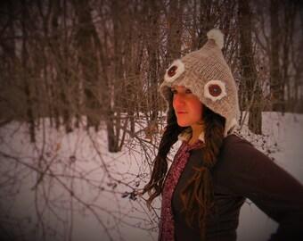 Woodland Gnome-Wool HOOD-rabbit fur-Manzanita Buttons-silk tassel-winter hat up-cycled