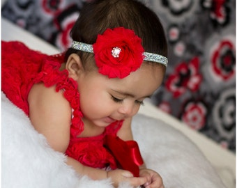 Red Baby Headband, Infant Headband, Baby Headband, Newborn Headband, Red Headband Baby Headband, Headband on Glitter Elastic