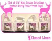 "Deer Hunter Camo Doe Treat Favor Bags Mini 6"" White Canvas Totes Children Kids Guests Deer Hunter Pink Camo Favor Gift Bags - Set of 4"