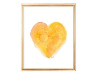 Gold Heart, 8x10 Watercolor Art Print, Yellow Wall Decor, Yellow Nursery Art, Yellow Orange Decor, Gold Nursery Art, Yellow Art, Gold Art