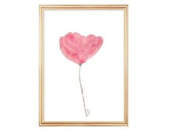 Pink Watercolor Flower, 5x7 Watercolor Art Print, Watercolor Painting, Pink Flower, Pink Nursery Art, Pink Nursery Watercolor, Small Art