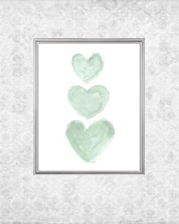 Mint Nursery Nursery Art, 8x10 Watercolor Hearts Print