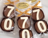 8 Chocolate 70th Double Oreo Cookie Favors Number Seventy Birthday Party Favors Celebration