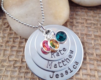 Hand-Stamped Stacked Mom Necklace with Names and Birthstones - Stainless Steel