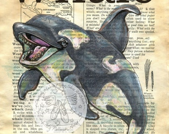 PRINT:  Whale Mixed Media Drawing on Antique Dictionary