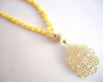Pastel Yellow necklace, Arabesque necklace, Gold pendant necklace, Pale yellow necklace, Rosary necklace, boho necklace, summer necklace