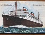 Vintage postcard, 1930s, SS Washington, United States Lines, original, America, USA, ship, collectible, paper ephemera, free shipping