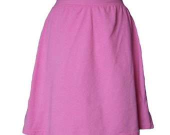 Pink Cotton Jersey Knit Skirt with a Rolled Waistband