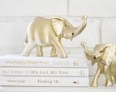 Gold Elephants Figurines Luxe Home Decor Bookshelf Decoration Vintage Animals Safari