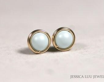 Gold Light Blue Pearl Stud Earrings Wire Wrapped Jewelry Handmade Gold Earrings Pale Blue Stud Earrings Gold Jewelry Pastel Blue Earrings