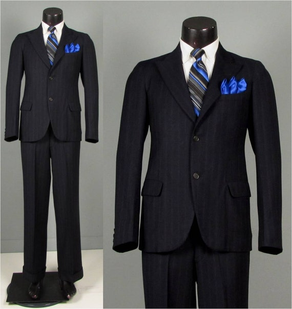 SALE Vintage 1930s Mens Suit Navy Multi Stripe Wool NRA