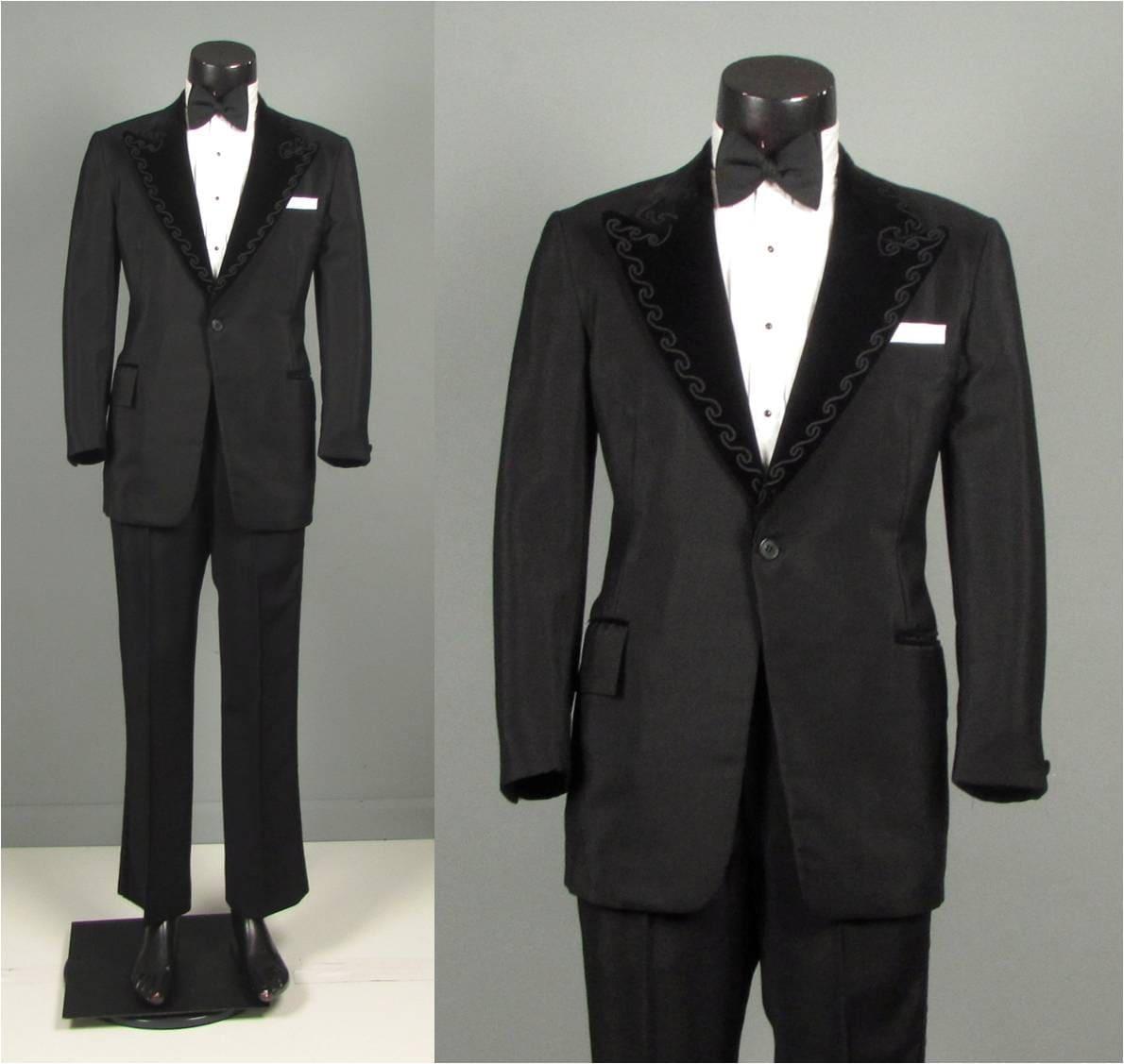 vintage 60er jahre herren smoking anzug 60er schwarz seide. Black Bedroom Furniture Sets. Home Design Ideas