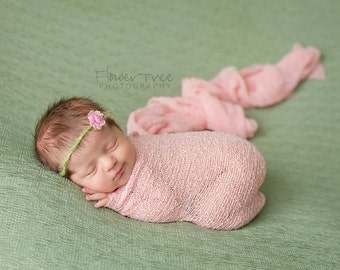 Newborn Tie Back Halo Headband Pink & Green Simple Organic Style Dainty Flower Shabby Vintage Photography Prop