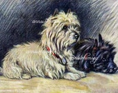 "Vintage Art ""Footsteps"", Dog Art, Someone's Home, Listen, They're Home -  Restored Vintage Art, 1928 Print Restored #165"