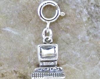 Sterling Silver Desktop Computer Charm on Spring Ring Fits Both Link and European Charm Bracelets - 1572