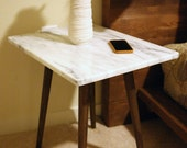 White Marble Danish Side Table