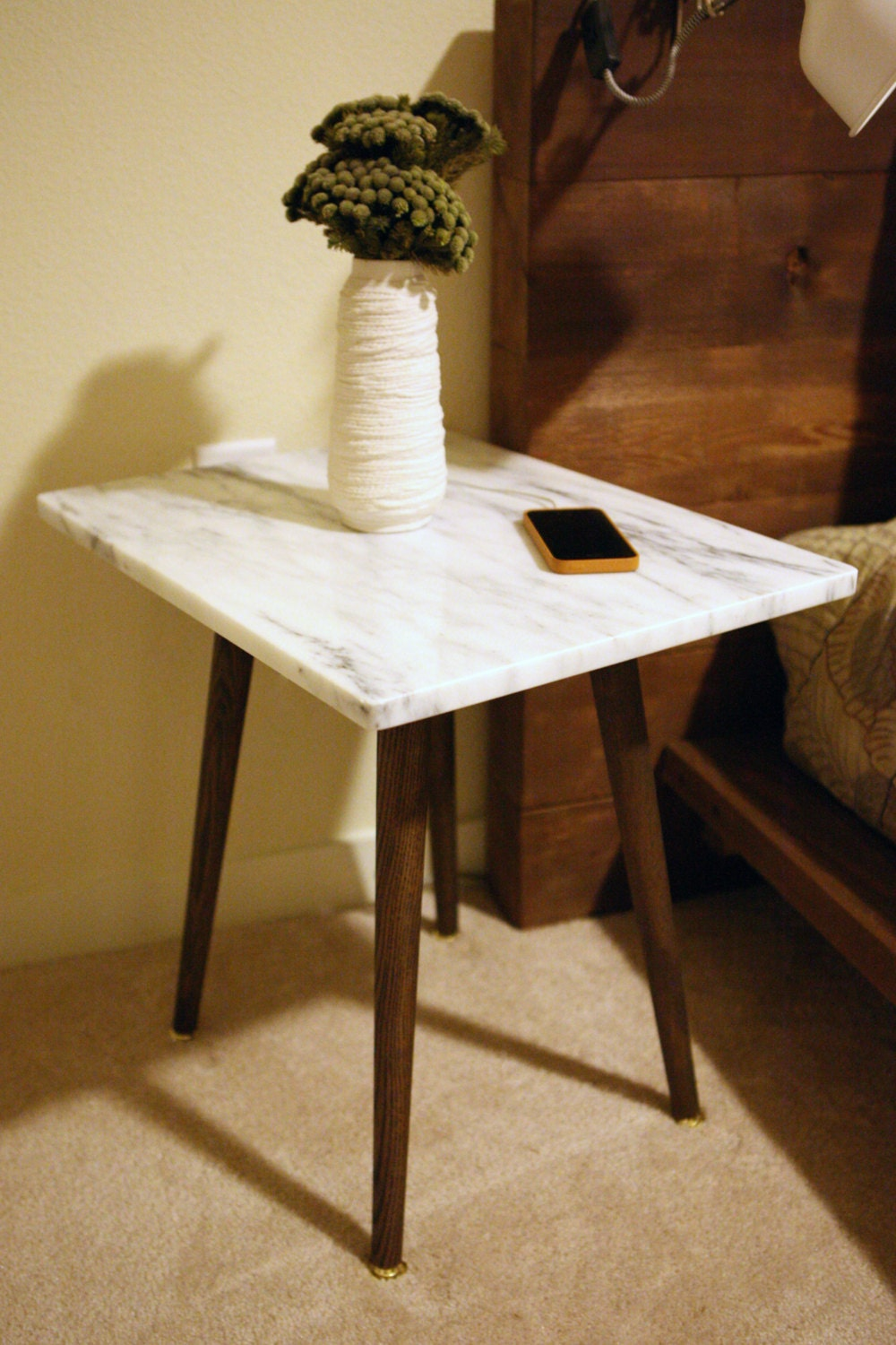 white marble danish side table by postdallas on etsy. Black Bedroom Furniture Sets. Home Design Ideas