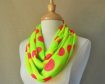 FREE SHIPPING, Large Infinity Scarf--Neon Yellow, Large Neon Ping Dots Infinity Scarf