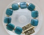 Chakra Jewelry Stunning Yummy Gems 14 mm Genuine Gemstone Apatite Stacking Stretch Bracelet With Raw Brass Accents