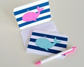 Set 10 Whale Stationery Nautical Note Card Whale Thank You Note Card Whale Baby Shower Thankyou Card Nautical Stationery Whale Greeting Card