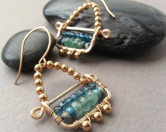 Golden Brass Wire Earrings, Modern Boho Chic, Gold Plated Beads, Blue Green, Apatite Mystic Quartz Gemstone, Hammered Brass, Ethnic Tribal