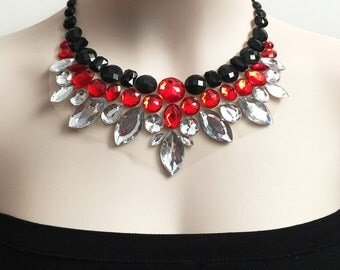 red jet black and clear color rhinestone bib necklace, Christmas necklace