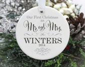 Our First Christmas Married Ornament, Our First Christmas as Mr and Mrs Ornament