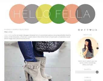 Premade WP Blog Theme Design -Hello Fella - WordPress template -grey, yellow, coral, green, textured Responsive Design