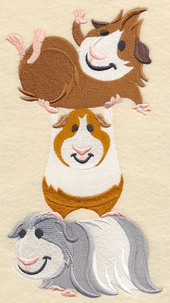 Guinea pig stack embroidered decorative by embroideredbysue